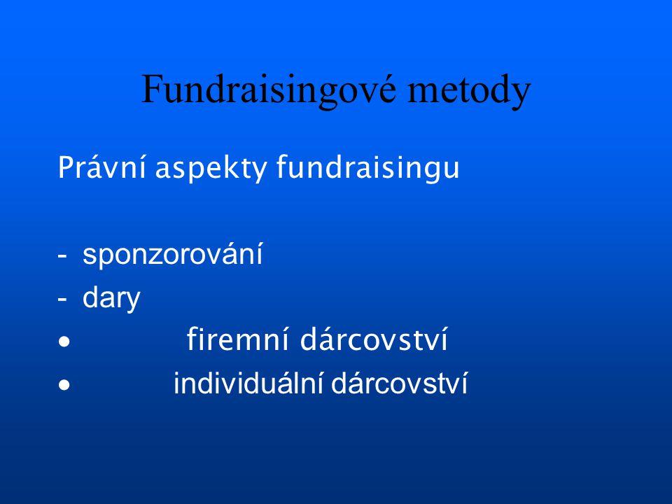 Fundraisingové metody Právní aspekty fundraisingu -sponzorování -dary  firemní dárcovství  individuální dárcovství