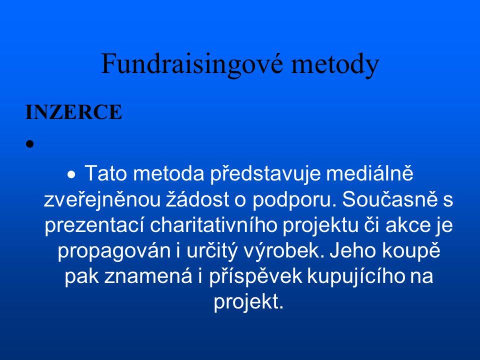 Fundraisingové metody INZERCE   Tato metoda představuje mediálně zveřejněnou žádost o podporu. Současně s prezentací charitativního projektu či akce