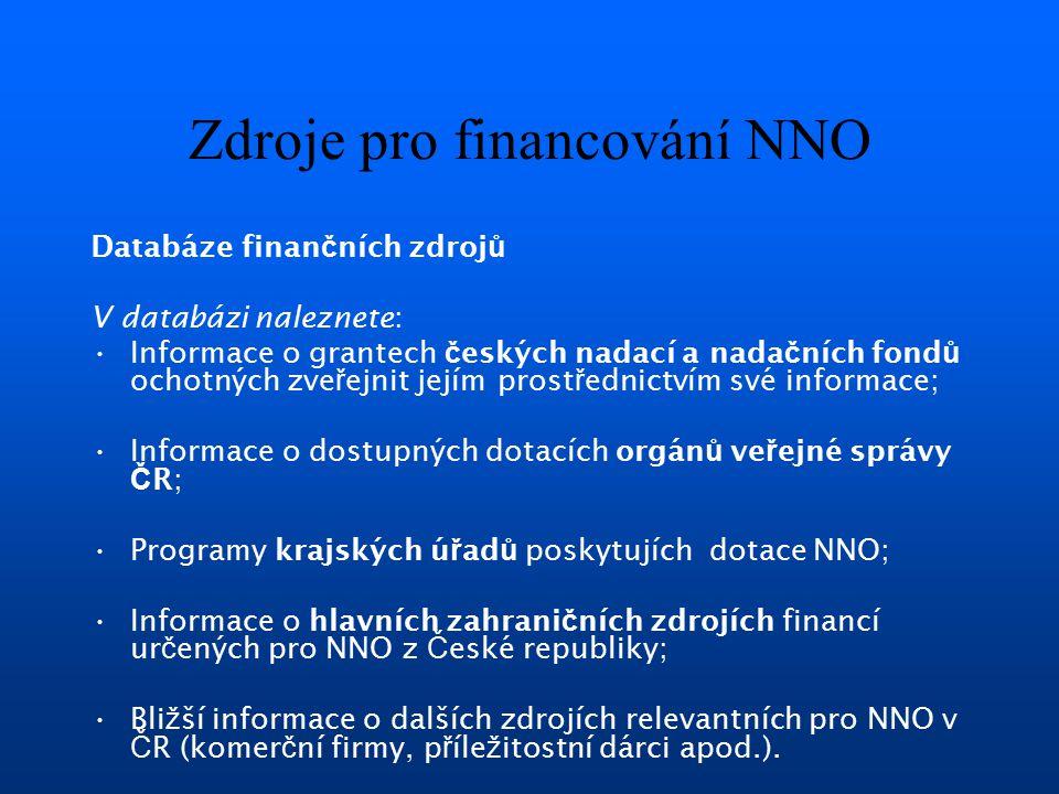 Zdroje pro financování NNO Databáze finan č ních zdroj ů V databázi naleznete: Informace o grantech č eských nadací a nada č ních fond ů ochotných zve