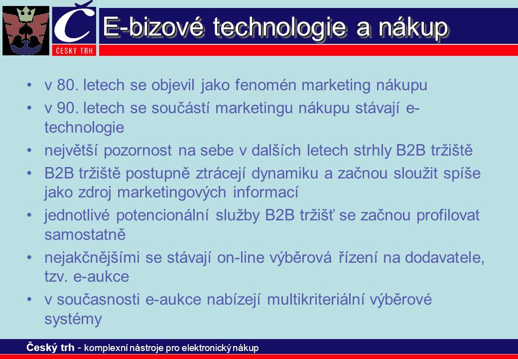 Český trh - komplexní nástroje pro elektronický nákup E-bizové technologie a nákup v 80. letech se objevil jako fenomén marketing nákupu v 90. letech
