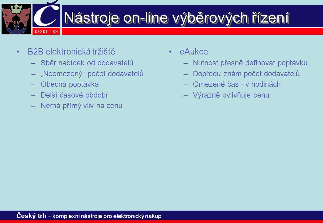 Český trh - komplexní nástroje pro elektronický nákup Naše služby Naše společnost poskytuje zadavateli řadu služeb, které jsou spojeny s pořádáním výběrových řízení a nákupních aukcí.