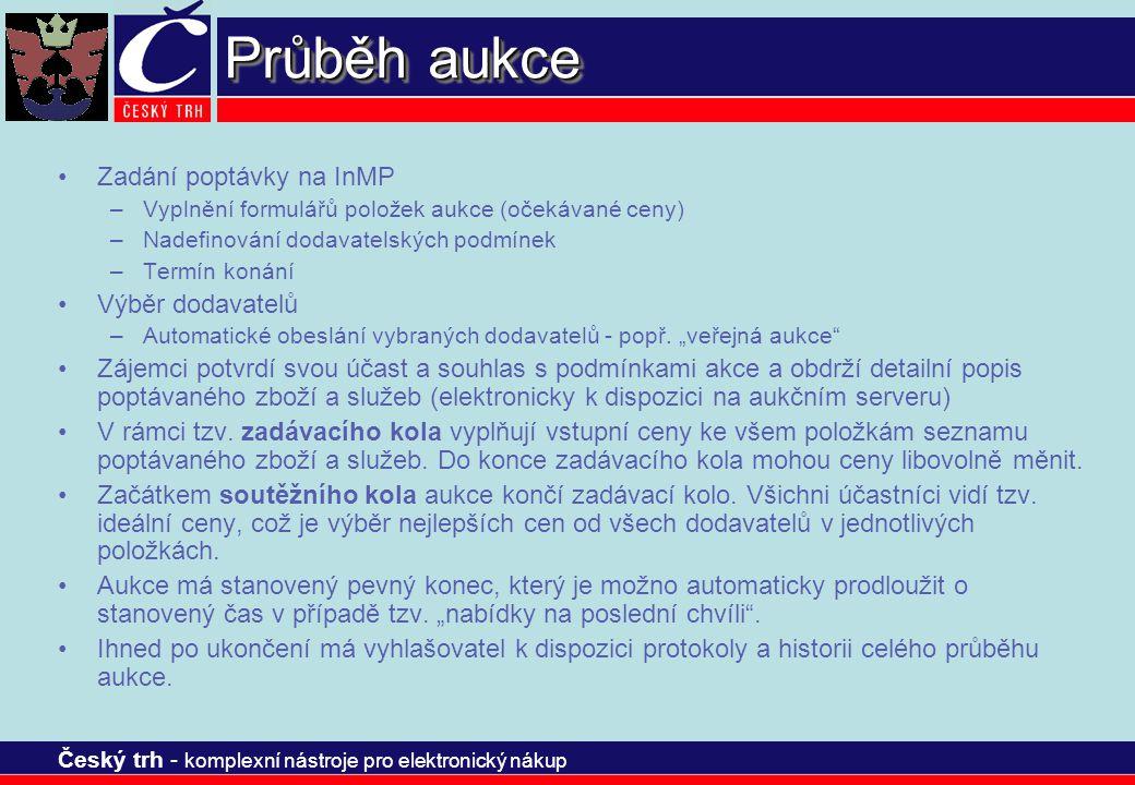 Český trh - komplexní nástroje pro elektronický nákup Průběh aukce Zadání poptávky na InMP –Vyplnění formulářů položek aukce (očekávané ceny) –Nadefin