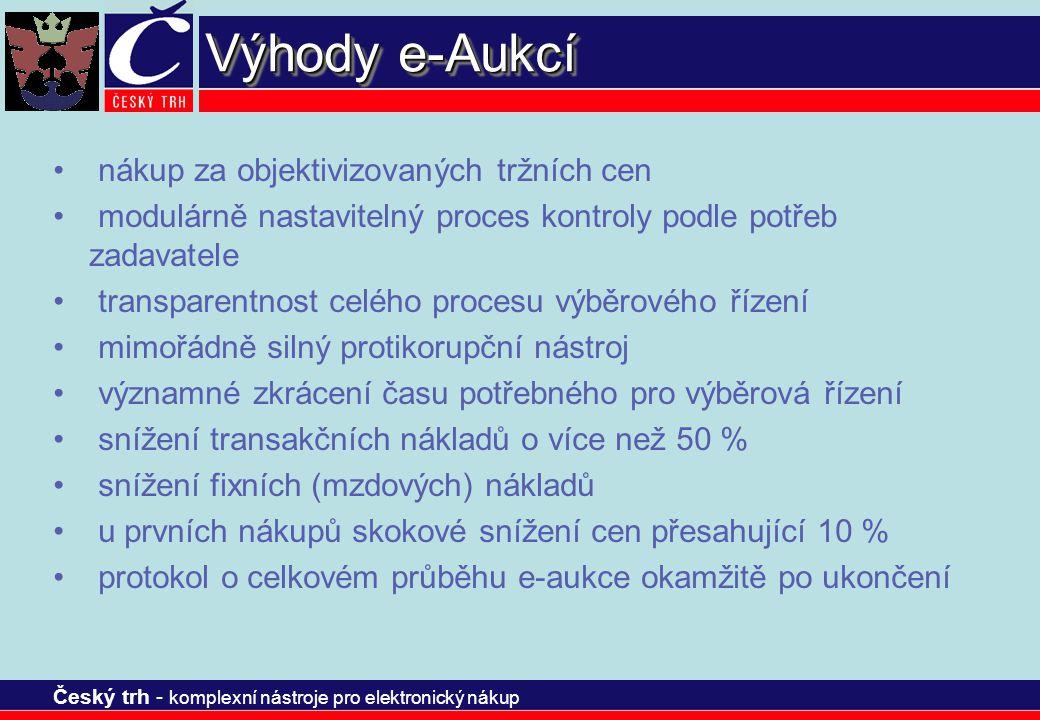 Český trh - komplexní nástroje pro elektronický nákup Výhody e-Aukcí nákup za objektivizovaných tržních cen modulárně nastavitelný proces kontroly pod