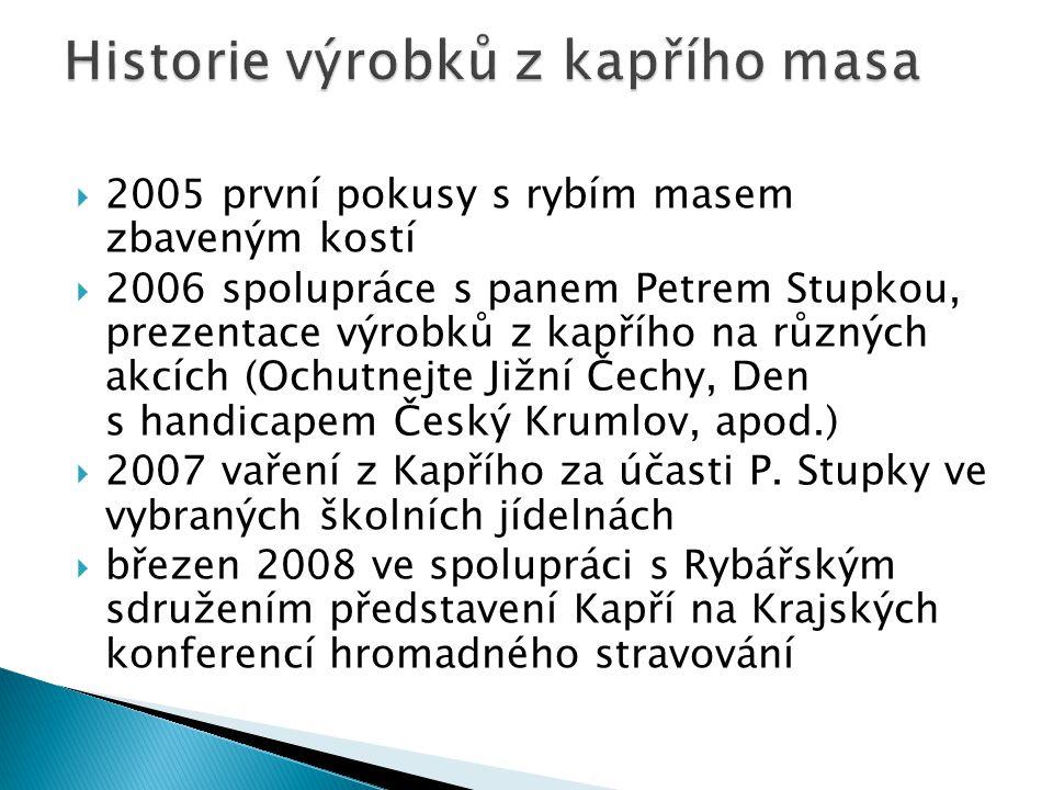  2005 první pokusy s rybím masem zbaveným kostí  2006 spolupráce s panem Petrem Stupkou, prezentace výrobků z kapřího na různých akcích (Ochutnejte Jižní Čechy, Den s handicapem Český Krumlov, apod.)  2007 vaření z Kapřího za účasti P.