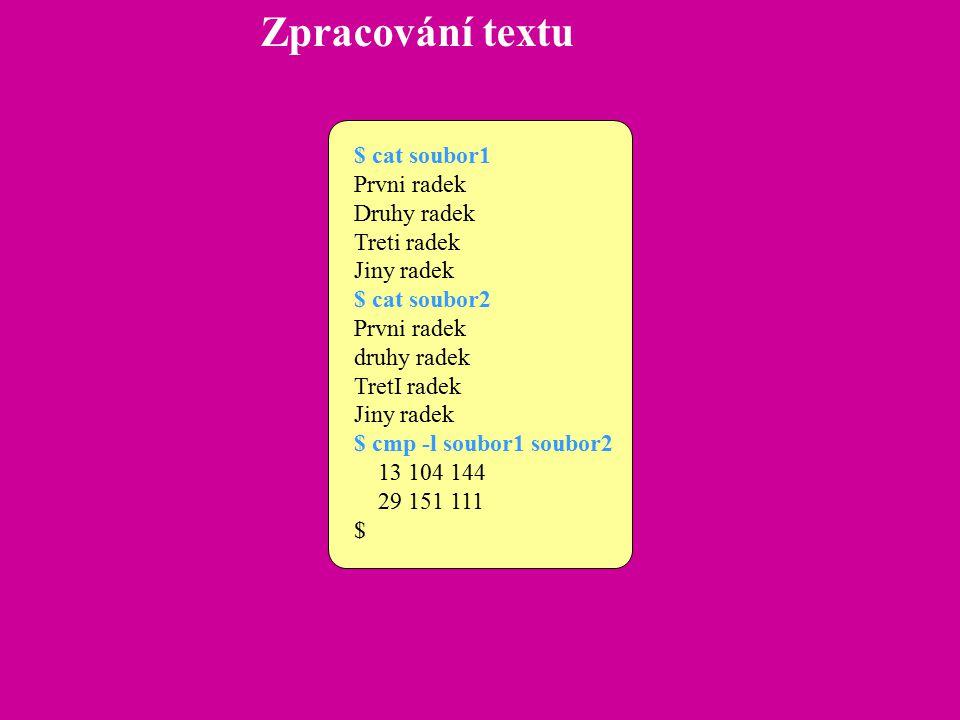 Zpracování textu Programovatelný filtr awk Jedná se o programovací jazyk (?), který pracuje se záznamy a poli, je pomalejší než vyšší programovací jazyky, dá se přepsat do jazyka C.