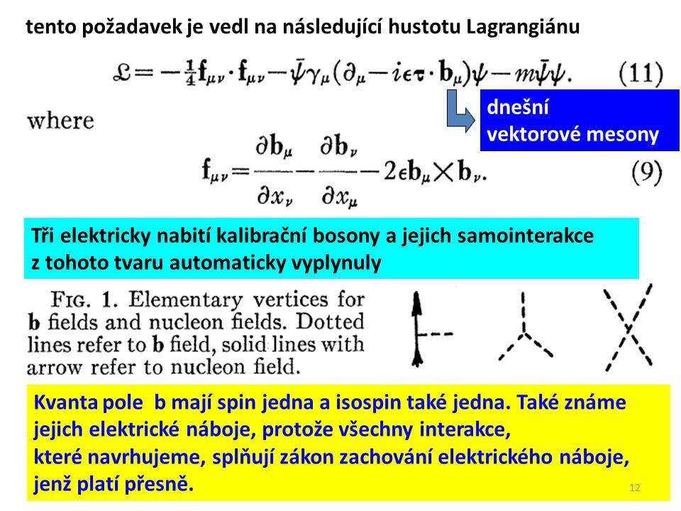 Tři elektricky nabití kalibrační bosony a jejich samointerakce z tohoto tvaru automaticky vyplynuly tento požadavek je vedl na následující hustotu Lag