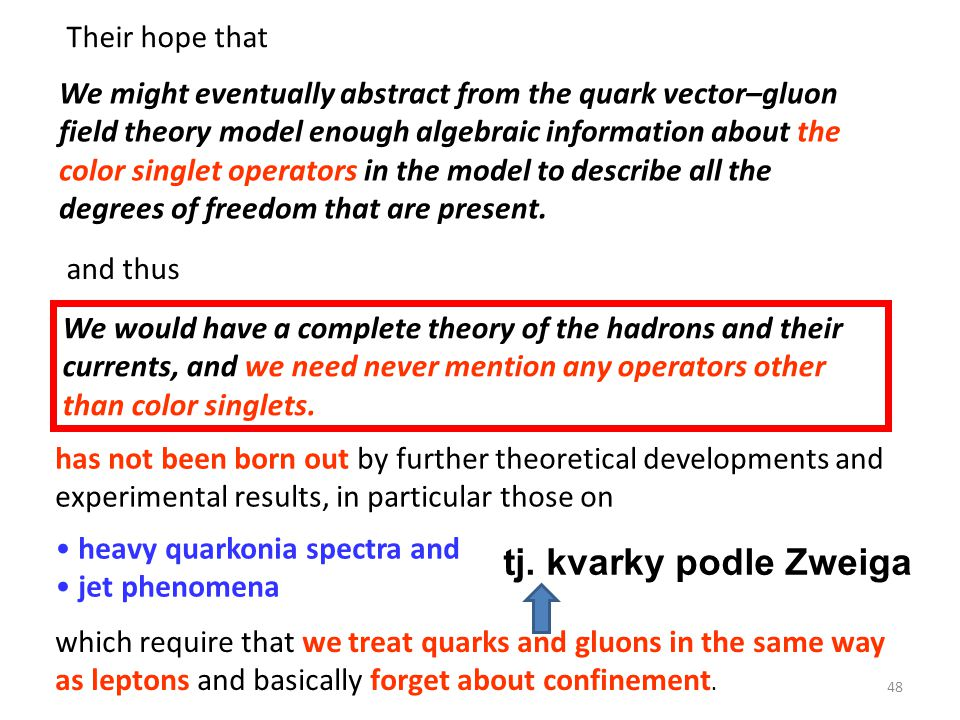 Their hope that We might eventually abstract from the quark vector–gluon field theory model enough algebraic information about the color singlet opera
