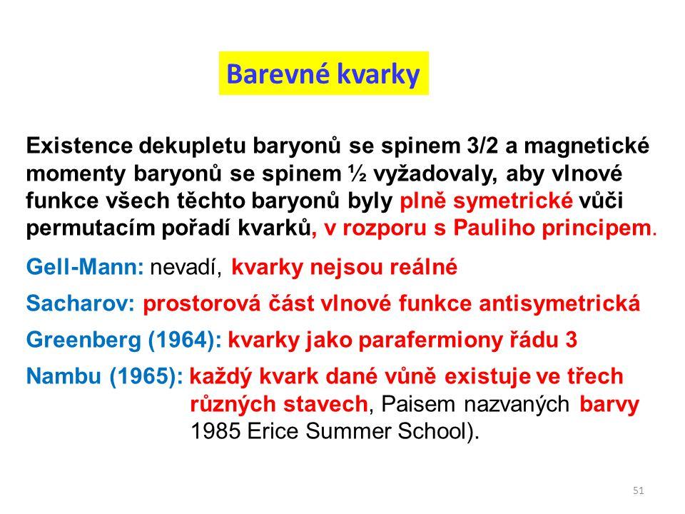 Barevné kvarky 51 Existence dekupletu baryonů se spinem 3/2 a magnetické momenty baryonů se spinem ½ vyžadovaly, aby vlnové funkce všech těchto baryon