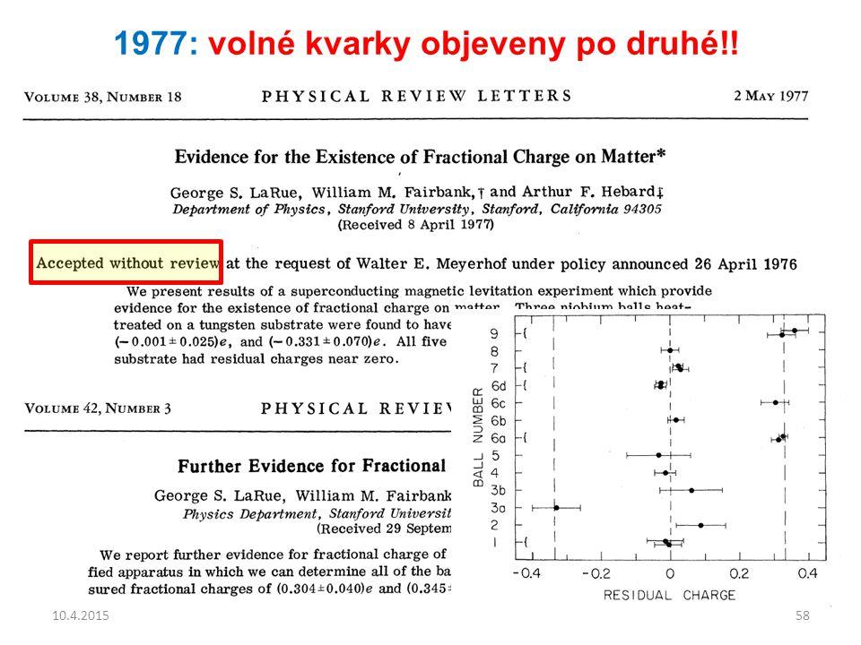 1977: volné kvarky objeveny po druhé!! 10.4.201558