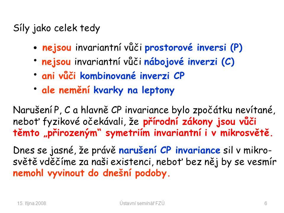 15. října 2008Ústavní semínář FZÚ6 nejsou invariantní vůči prostorové inversi (P) nejsou invariantní vůči nábojové inverzi (C) ani vůči kombinované in