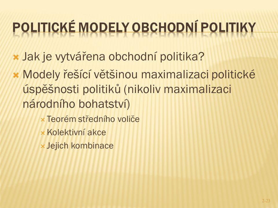  Jak je vytvářena obchodní politika?  Modely řešící většinou maximalizaci politické úspěšnosti politiků (nikoliv maximalizaci národního bohatství) 