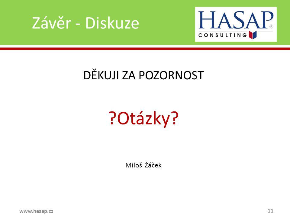 Závěr - Diskuze 11 www.hasap.cz DĚKUJI ZA POZORNOST Otázky Miloš Žáček