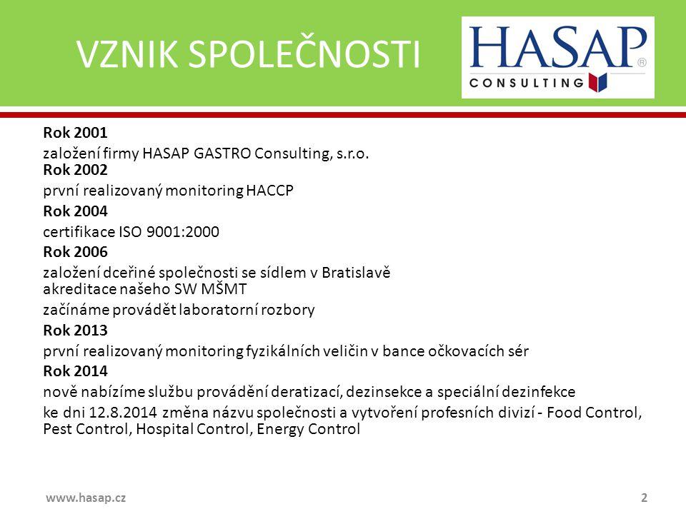 VZNIK SPOLEČNOSTI Rok 2001 založení firmy HASAP GASTRO Consulting, s.r.o. Rok 2002 první realizovaný monitoring HACCP Rok 2004 certifikace ISO 9001:20