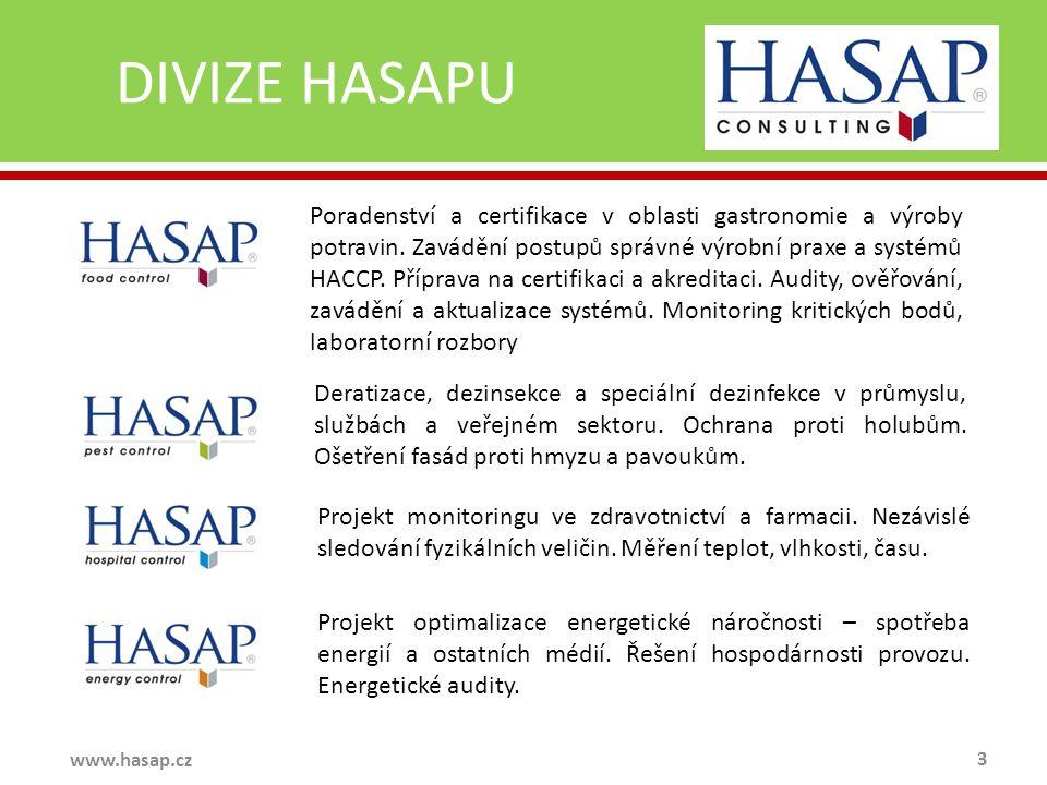 DIVIZE HASAPU 3 www.hasap.cz Poradenství a certifikace v oblasti gastronomie a výroby potravin. Zavádění postupů správné výrobní praxe a systémů HACCP