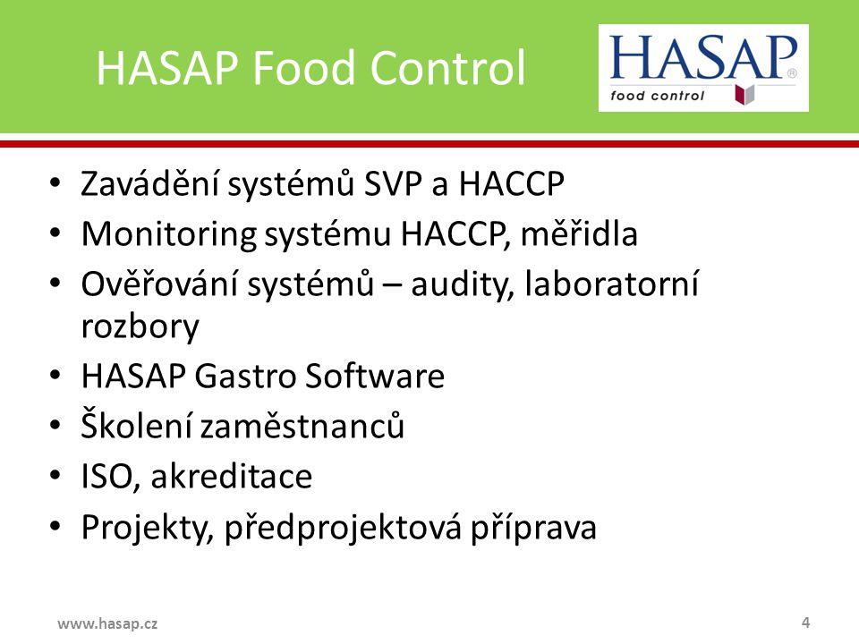 HASAP Food Control 4 www.hasap.cz Zavádění systémů SVP a HACCP Monitoring systému HACCP, měřidla Ověřování systémů – audity, laboratorní rozbory HASAP