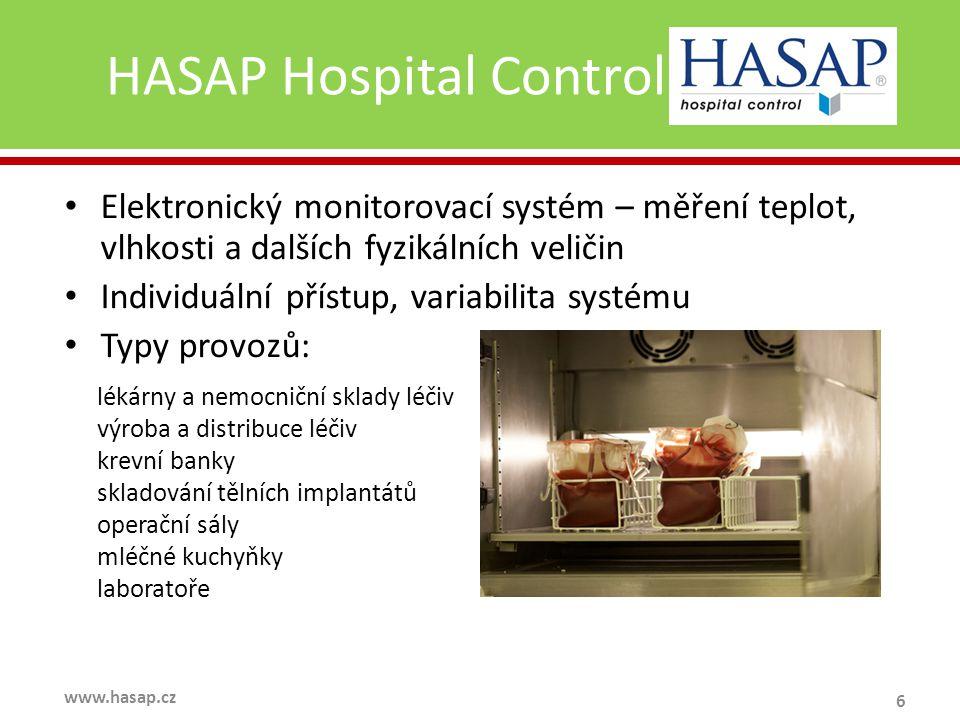 HASAP Hospital Control 6 www.hasap.cz Elektronický monitorovací systém – měření teplot, vlhkosti a dalších fyzikálních veličin Individuální přístup, variabilita systému Typy provozů: lékárny a nemocniční sklady léčiv výroba a distribuce léčiv krevní banky skladování tělních implantátů operační sály mléčné kuchyňky laboratoře
