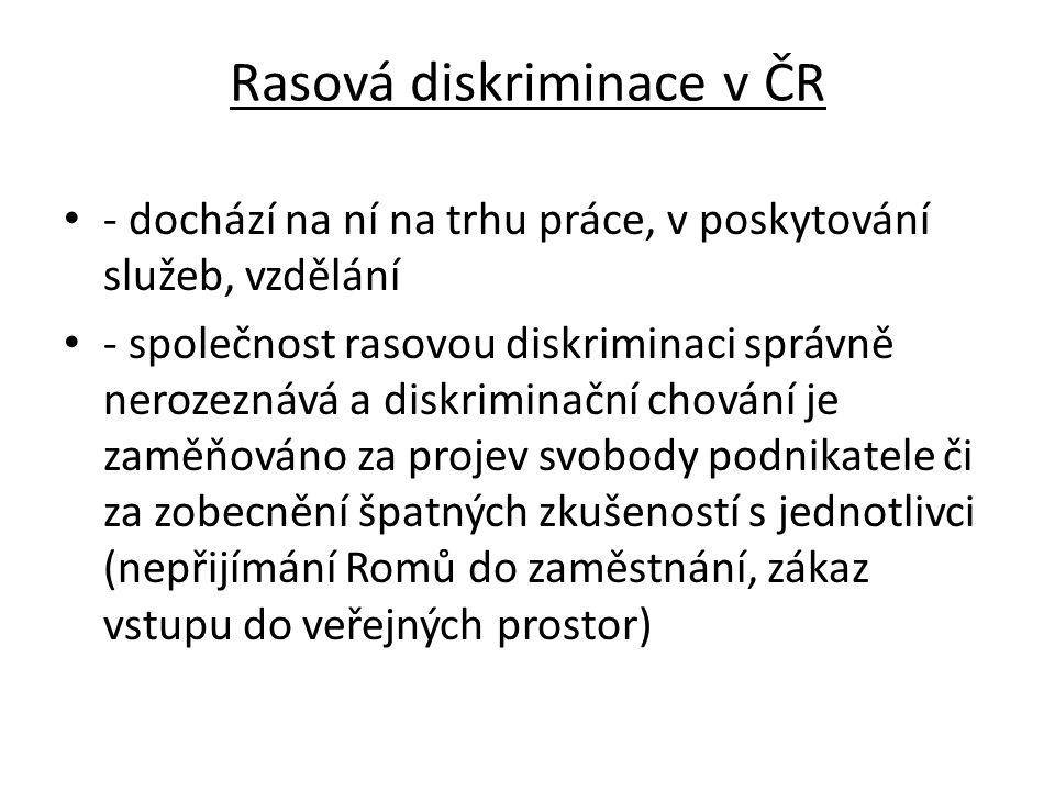 Rasová diskriminace v ČR - dochází na ní na trhu práce, v poskytování služeb, vzdělání - společnost rasovou diskriminaci správně nerozeznává a diskrim