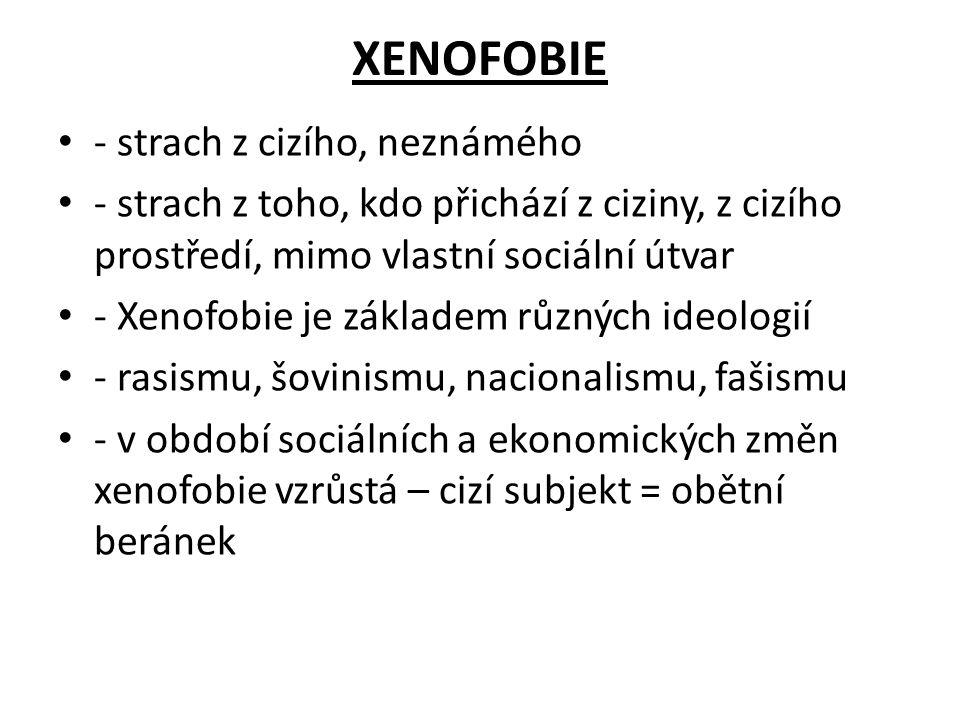 XENOFOBIE - strach z cizího, neznámého - strach z toho, kdo přichází z ciziny, z cizího prostředí, mimo vlastní sociální útvar - Xenofobie je základem