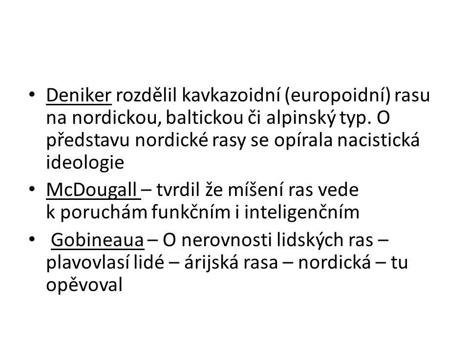 Deniker rozdělil kavkazoidní (europoidní) rasu na nordickou, baltickou či alpinský typ. O představu nordické rasy se opírala nacistická ideologie McDo
