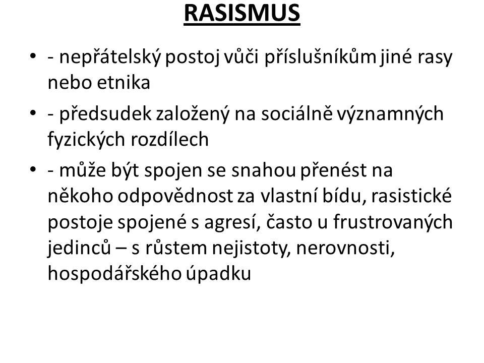 RASISMUS - nepřátelský postoj vůči příslušníkům jiné rasy nebo etnika - předsudek založený na sociálně významných fyzických rozdílech - může být spoje