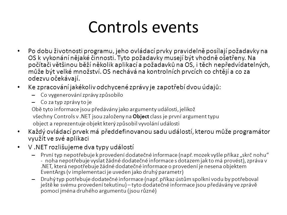 Controls events Po dobu životnosti programu, jeho ovládací prvky pravidelně posílají požadavky na OS k vykonání nějaké činnosti.