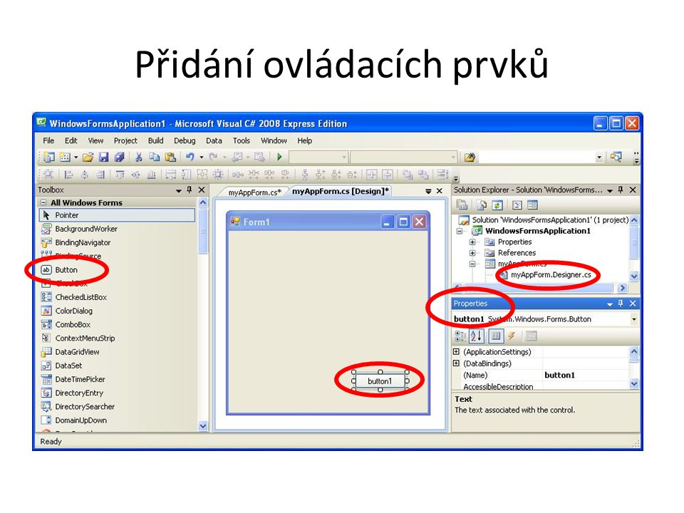 Příklady Základních Events Zprávy klávesnice private void Control_KeyDown(object sender, KeyEventArgs e) { } private void Control_KeyUp(object sender, KeyEventArgs e) { } private void Control_KeyPress(object sender, KeyPressEventArgs e) { } Zprávy myši private void Control_MouseEnter(object sender, EventArgs e) { } private void Control_MouseMove(object sender, MouseEventArgs e) { } private void Control_MouseHover(object sender, EventArgs e) { } private void Control_MouseDown(object sender, MouseEventArgs e) { } private void Control_MouseUp(object sender, MouseEventArgs e) { } private void Form1_MouseLeave(object sender, EventArgs e) { }