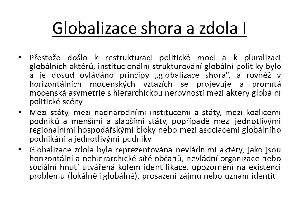 Globalizace shora a zdola I Přestože došlo k restrukturaci politické moci a k pluralizaci globálních aktérů, institucionální strukturování globální po