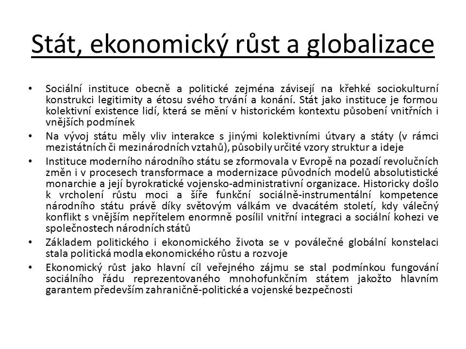 Stát, ekonomický růst a globalizace Sociální instituce obecně a politické zejména závisejí na křehké sociokulturní konstrukci legitimity a étosu svého