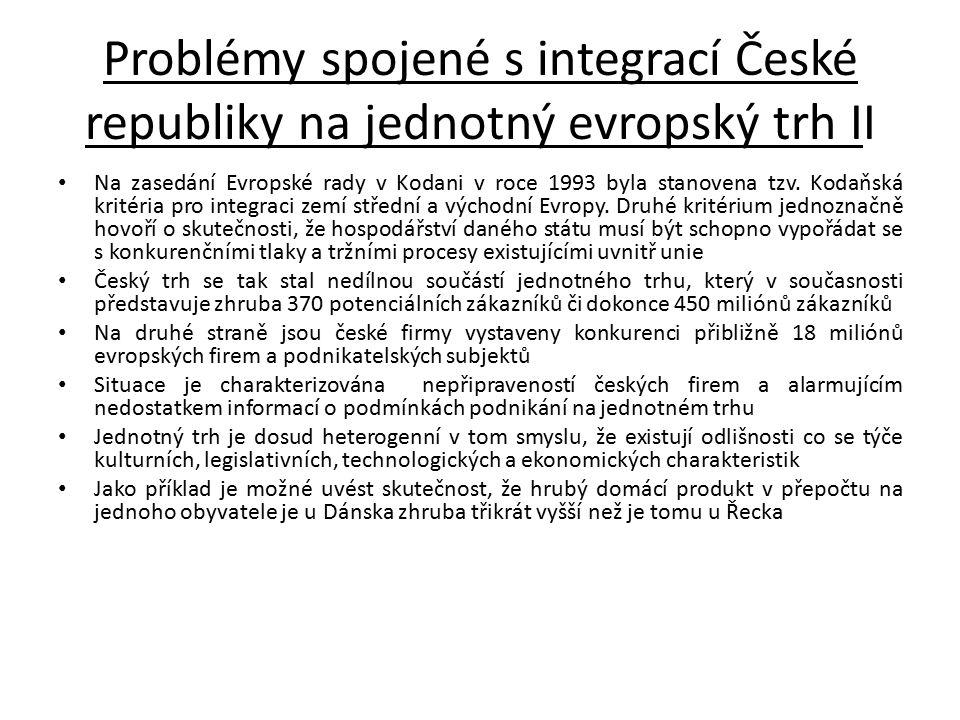 Problémy spojené s integrací České republiky na jednotný evropský trh II Na zasedání Evropské rady v Kodani v roce 1993 byla stanovena tzv. Kodaňská k