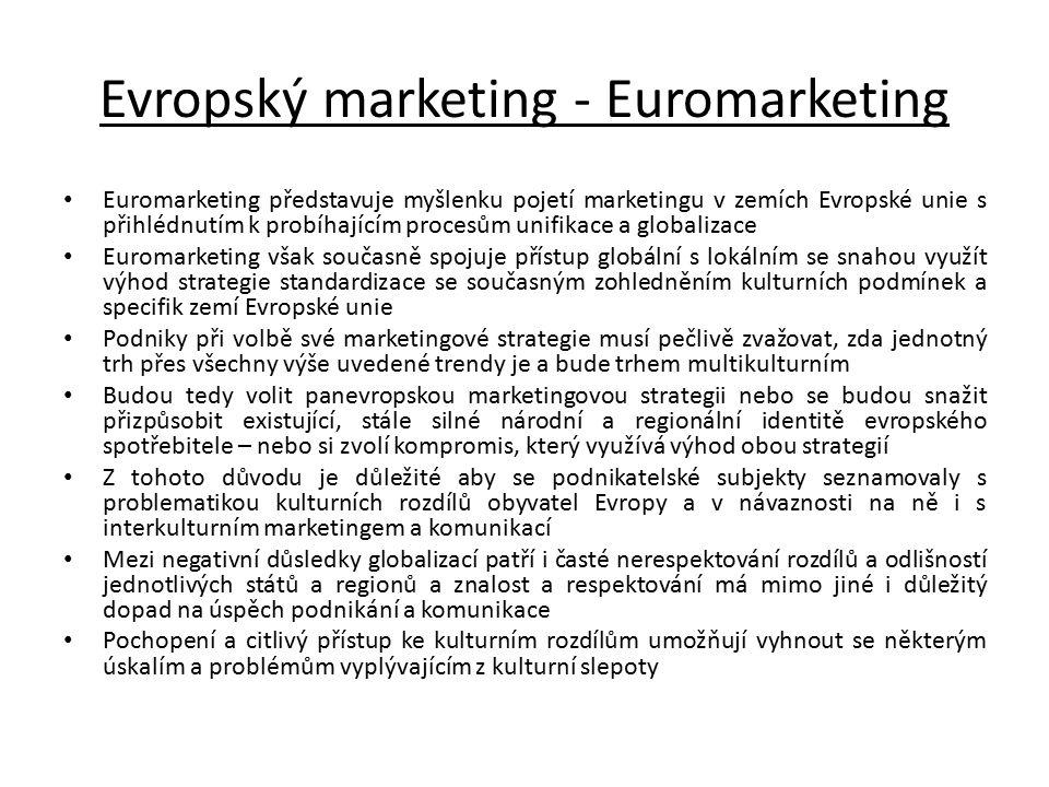 Evropský marketing - Euromarketing Euromarketing představuje myšlenku pojetí marketingu v zemích Evropské unie s přihlédnutím k probíhajícím procesům
