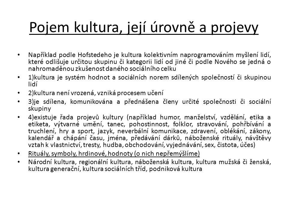 Pojem kultura, její úrovně a projevy Například podle Hofstedeho je kultura kolektivním naprogramováním myšlení lidí, které odlišuje určitou skupinu či