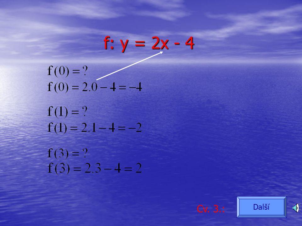 Funkce f je dána matematickým vztahem: Cv. 3.: f: y = 2x - 4 Další
