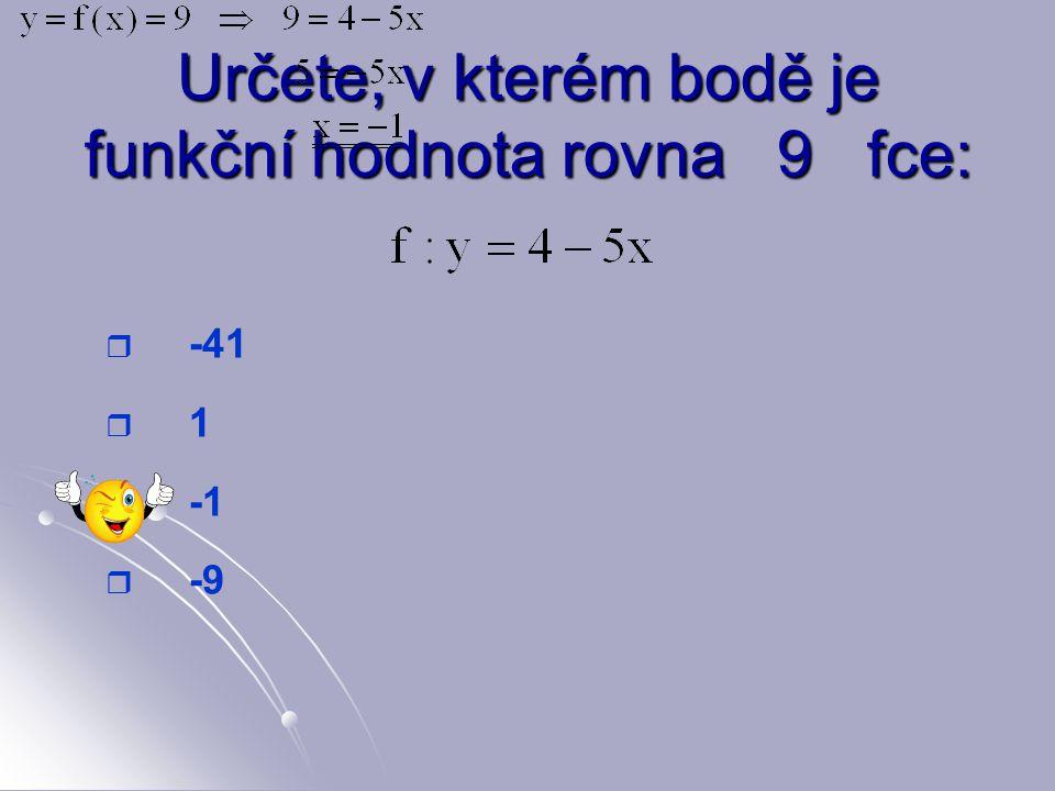 Určete, v kterém bodě je funkční hodnota rovna 3 fce:   -2   2   1   -1