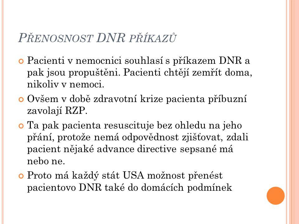 P ŘENOSNOST DNR PŘÍKAZŮ Pacienti v nemocnici souhlasí s příkazem DNR a pak jsou propuštěni. Pacienti chtějí zemřít doma, nikoliv v nemoci. Ovšem v dob