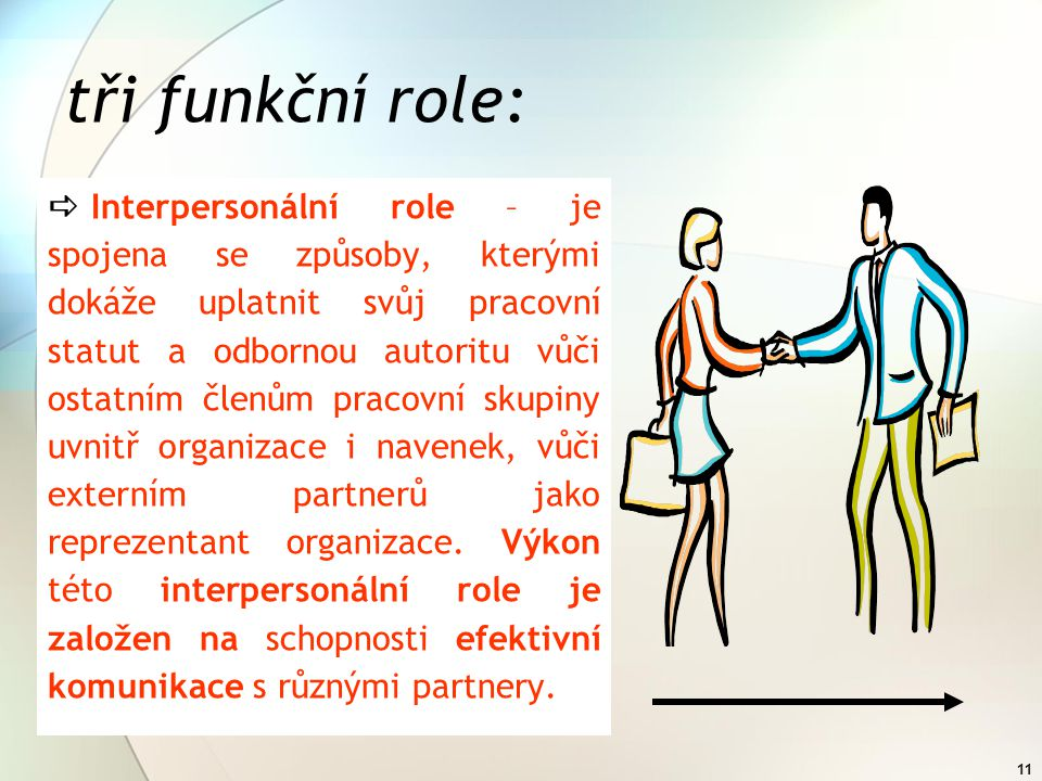 10 tři funkční role:  Informační role – vychází z principů práce s daty, které ve vazbě vzájemných relacích vytvářejí znalosti v podobě informací.