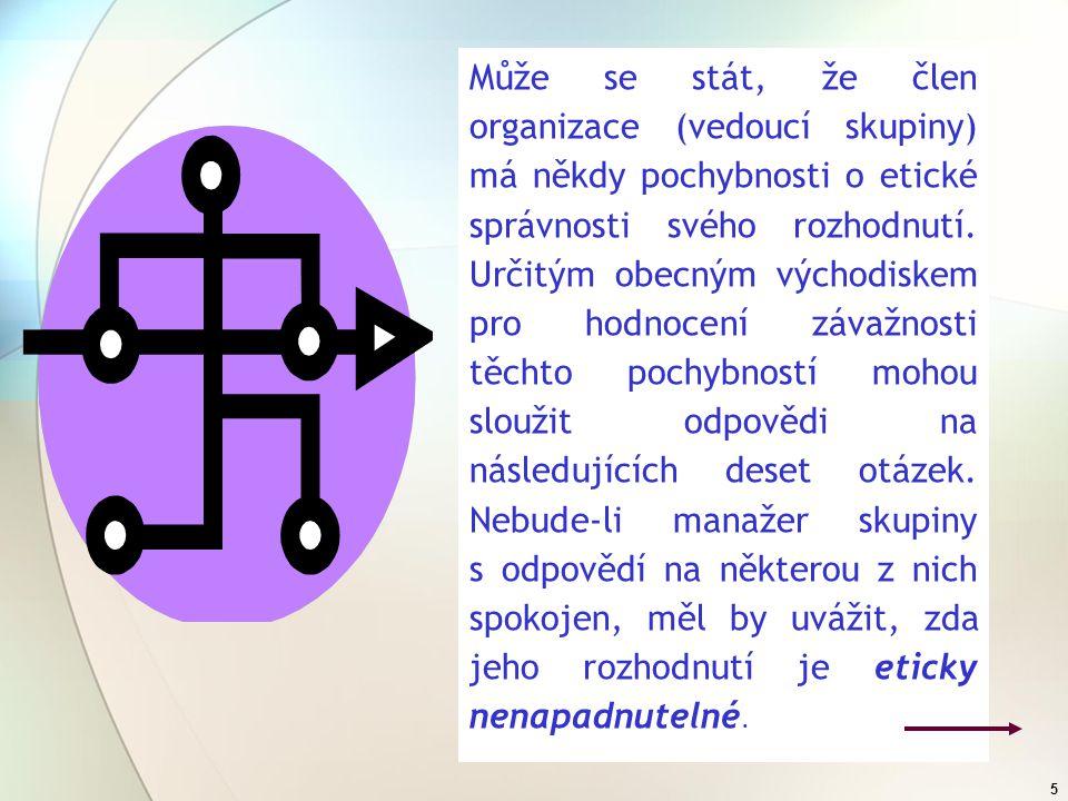 4 Organizační etika vychází ze tří pilířů (subsystémů), které reprezentují tři na sobě nezávislé a vzájemně se doplňující oblasti: morálka, erudice (kvalifikace) a schopnost aplikace v praxi.