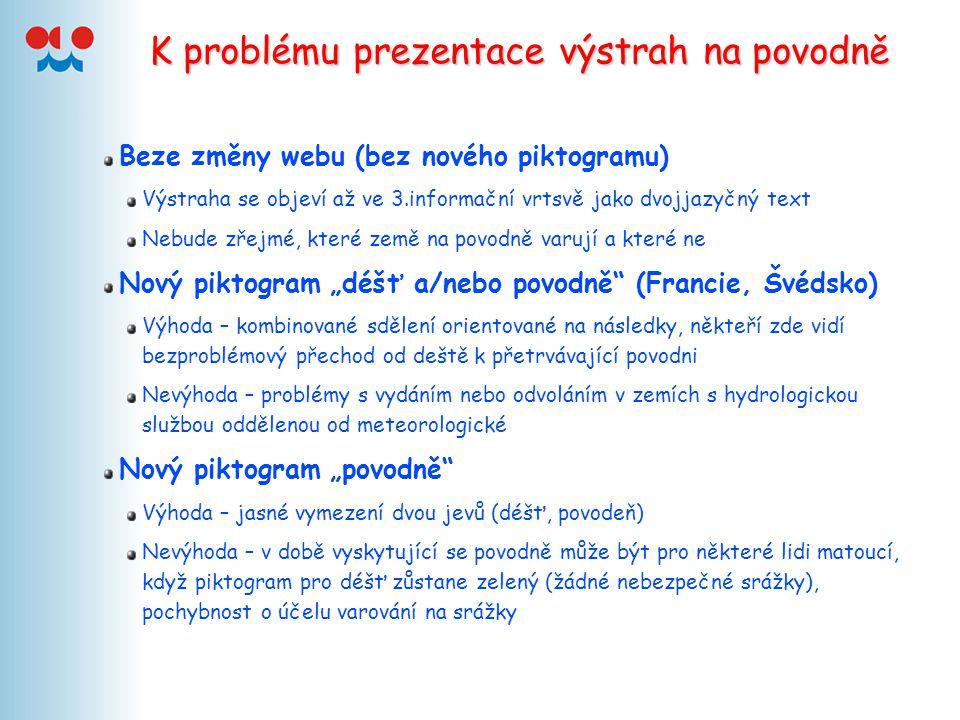 K problému prezentace výstrah na povodně Beze změny webu (bez nového piktogramu) Výstraha se objeví až ve 3.informační vrtsvě jako dvojjazyčný text Ne