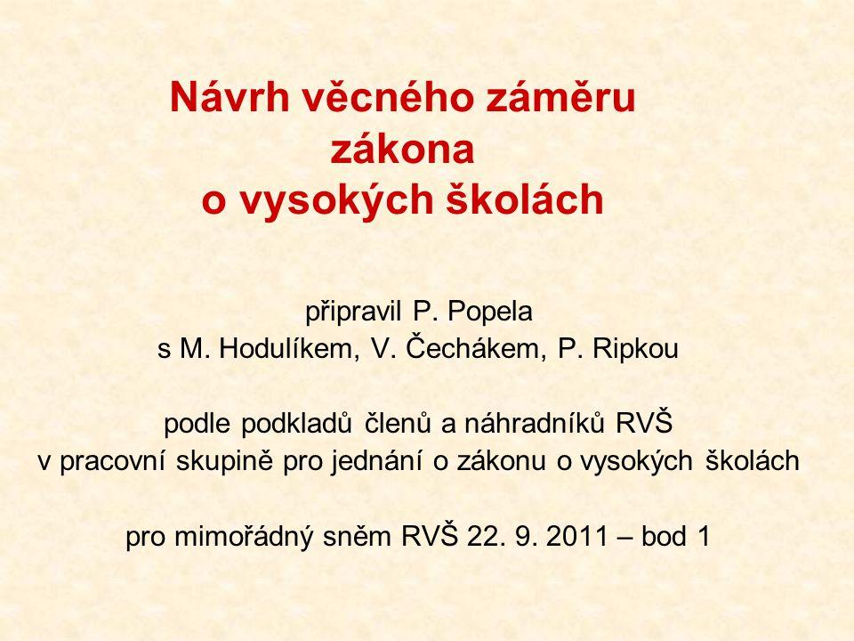 Návrh věcného záměru zákona o vysokých školách připravil P. Popela s M. Hodulíkem, V. Čechákem, P. Ripkou podle podkladů členů a náhradníků RVŠ v prac
