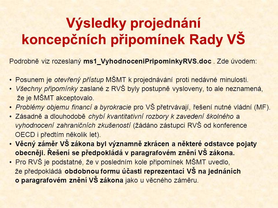 Výsledky projednání koncepčních připomínek Rady VŠ Podrobně viz rozeslaný ms1_VyhodnoceniPripominkyRVS.doc. Zde úvodem: Posunem je otevřený přístup MŠ