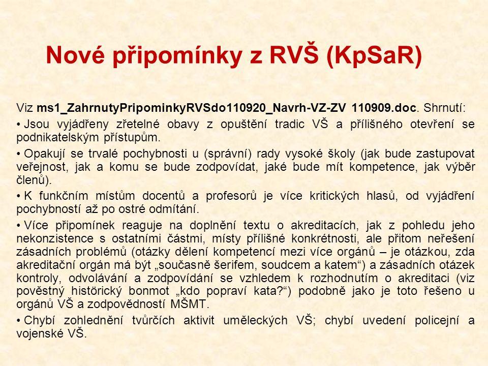 Nové připomínky z RVŠ (KpSaR) Viz ms1_ZahrnutyPripominkyRVSdo110920_Navrh-VZ-ZV 110909.doc. Shrnutí: Jsou vyjádřeny zřetelné obavy z opuštění tradic V