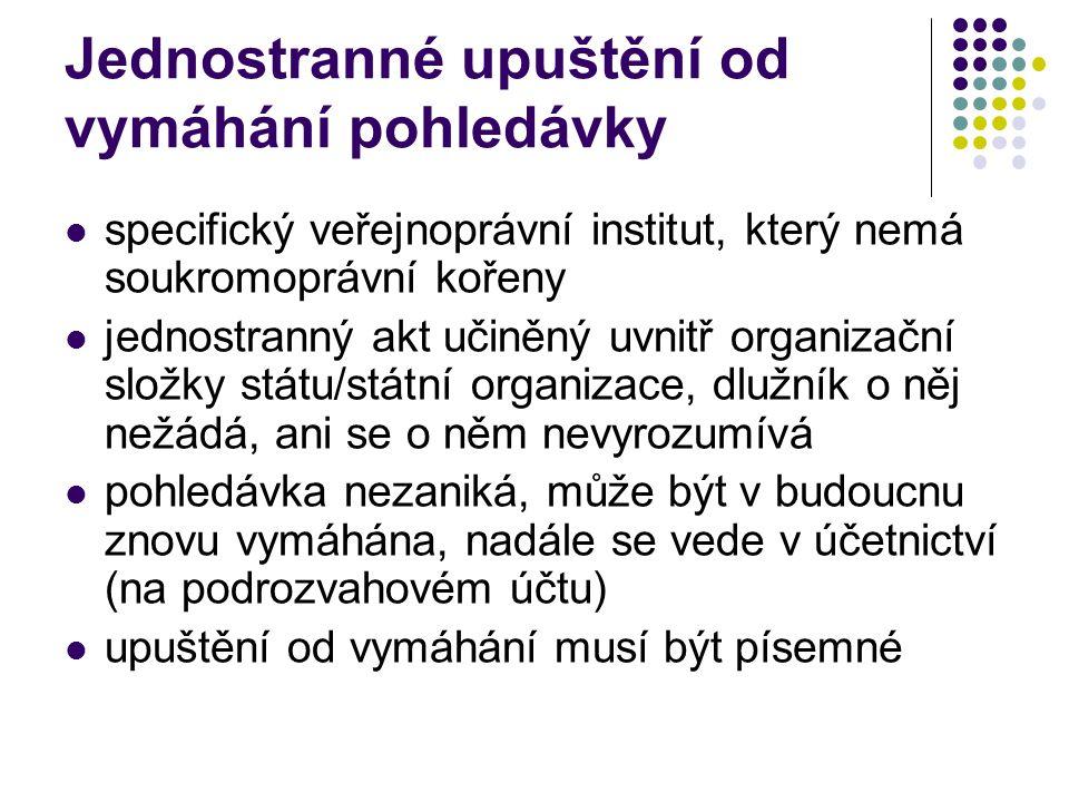 Jednostranné upuštění od vymáhání pohledávky specifický veřejnoprávní institut, který nemá soukromoprávní kořeny jednostranný akt učiněný uvnitř organ