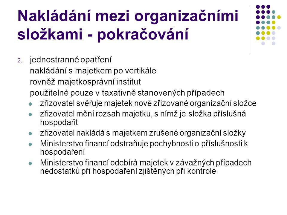 Nakládání mezi organizačními složkami - pokračování 2. jednostranné opatření nakládání s majetkem po vertikále rovněž majetkosprávní institut použitel