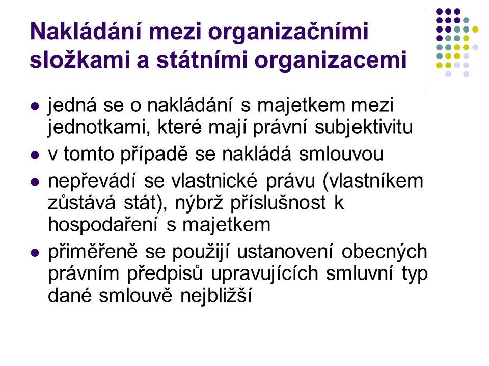Nakládání mezi organizačními složkami a státními organizacemi jedná se o nakládání s majetkem mezi jednotkami, které mají právní subjektivitu v tomto