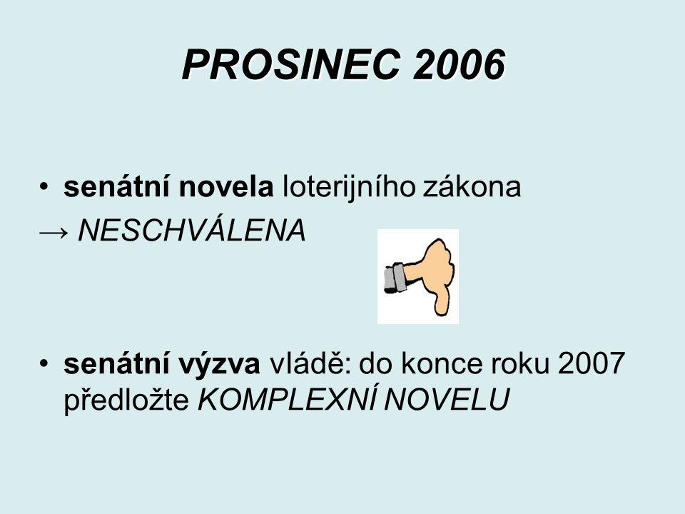 PROSINEC 2006 senátní novela loterijního zákona → NESCHVÁLENA senátní výzva vládě: do konce roku 2007 předložte KOMPLEXNÍ NOVELU