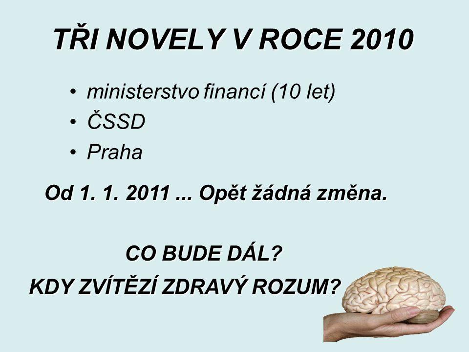 TŘI NOVELY V ROCE 2010 ministerstvo financí (10 let) ČSSD Praha Od 1.