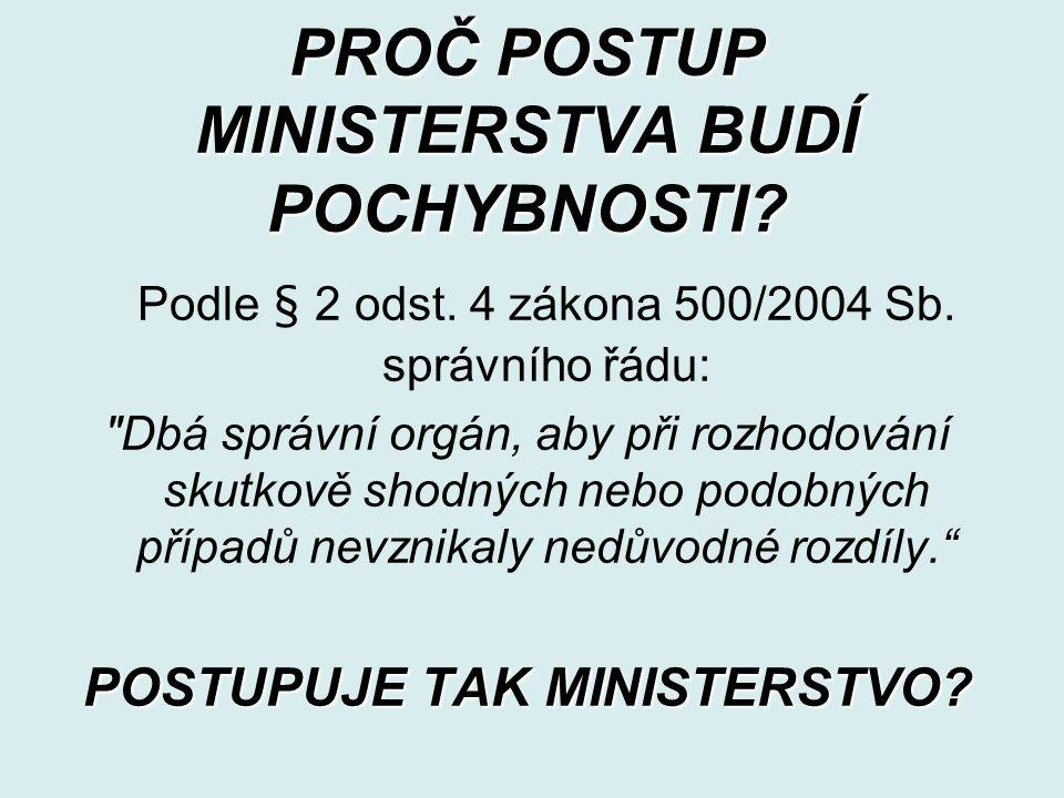 PROČ POSTUP MINISTERSTVA BUDÍ POCHYBNOSTI. Podle § 2 odst.