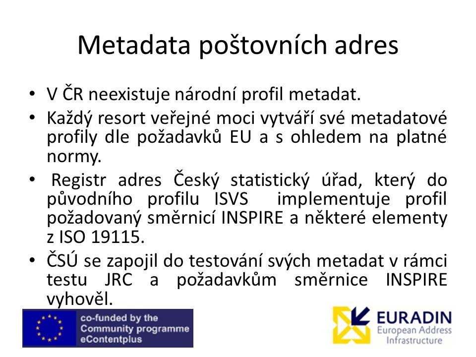 Metadata poštovních adres V ČR neexistuje národní profil metadat.