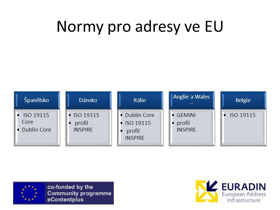 Normy pro adresy ve EU Španělsko ISO 19115 Core Dublin Core Dánsko ISO 19115 profil INSPIRE Itálie Dublin Core ISO 19115 profil INSPIRE Anglie a Wales – GEMINI profil INSPIRE Belgie ISO 19115