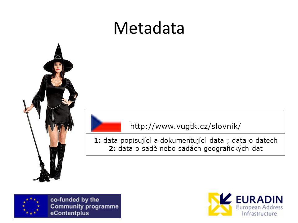 Metadata http://www.vugtk.cz/slovnik/ 1: data popisující a dokumentující data ; data o datech 2: data o sadě nebo sadách geografických dat