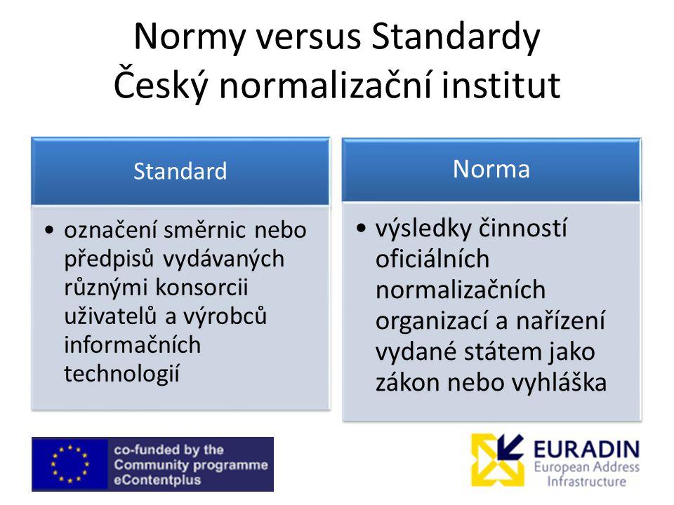 Normy versus Standardy Český normalizační institut Norma výsledky činností oficiálních normalizačních organizací a nařízení vydané státem jako zákon nebo vyhláška Standard označení směrnic nebo předpisů vydávaných různými konsorcii uživatelů a výrobců informačních technologií